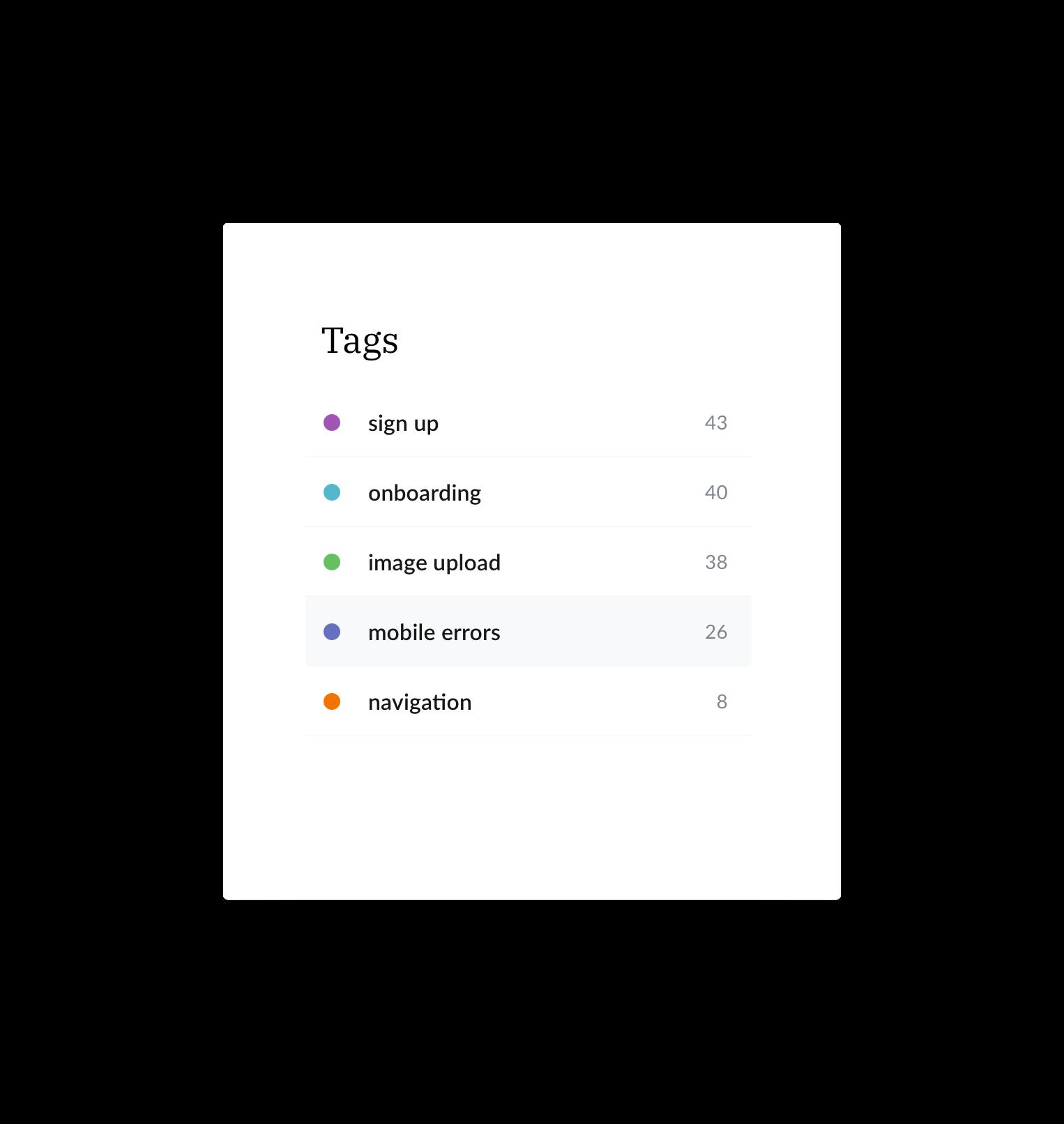 tags list screen