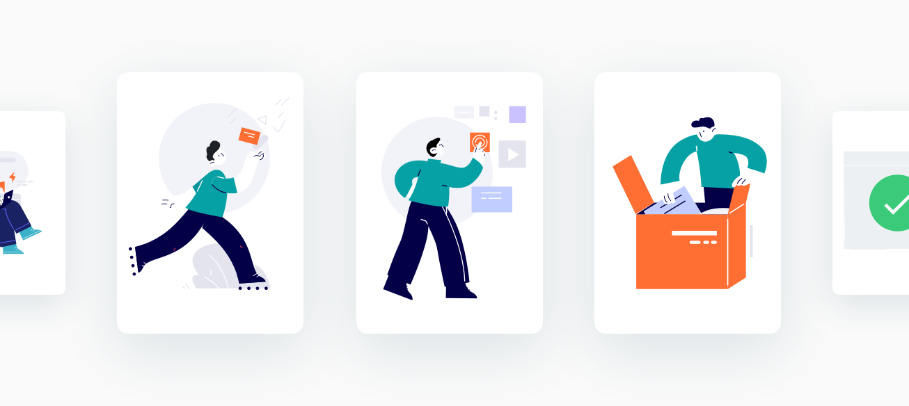 Complete user journey with a illustration in each rectangle