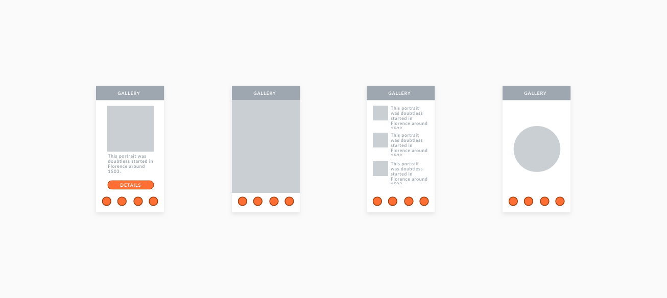 A four completed visual screens with texts and interactive buttons on them